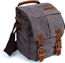 Waterproof Canvas Leather Trim DSLR SLR Shockproof Camera Shoulder Messenger Bag (Grey)