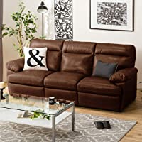 Furny Margus 3 Seater Sofa Set in Leatherette (Brown) Premium Sofas for Living Rooms
