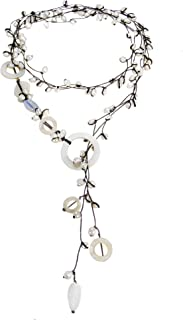 AeraVida White Mother of Pearl and Cultured Freshwater White Pearl on Cotton Wax Rope Long Wrap Around Y-Necklace