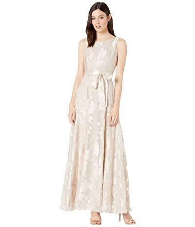Tahari by ASL Sleeveless Organza Burnout Gown with Satin Sash (Champagne) Women