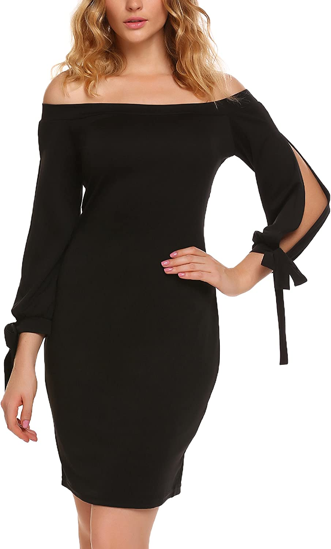 Finejo Women Sexy 3 4 Split Tie Sleeve Solid Off Shoulder Bodycon Pencil Dress