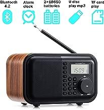 Table Radio FM AM SW Radio Digital Wooden Radio with Alarm Clock、Rotary Dial、Bluetooth 4.2、USB Port、TF Card Slot、Aux-in Jack、2×18650 Batteries