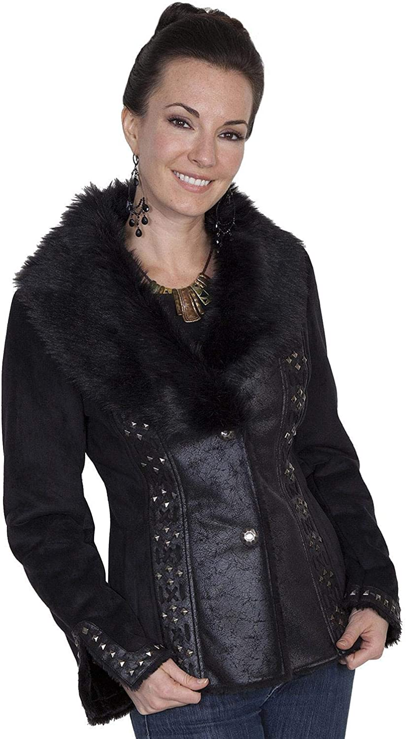 Scully Women's Honey Creek Faux Suede and Fur Jacket - 8021 Black