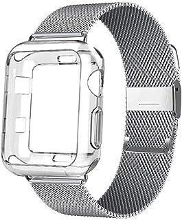 for apple Watchバンド用ケース+ストラップ44 mm 40mm for iWatchバンド用42mm 38mm for apple Watch用ステンレス鋼ミラネーゼループブレスレット5 4 3 2 1 38-silver-clean-38mm series 321