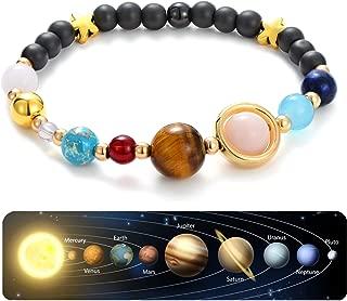 CULOVITY Solar System Bracelet Gemstone Astronomy Galaxy The Nine Planets Guardian Bracelets Jewelry for Womens Mens
