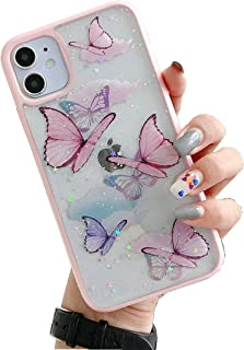 DELFINO Compatible with iPhone 12 Pro Max Butterfly Case, Cute Pretty Butterfly Glitter Shockproof Soft Silicone Clear Gir...