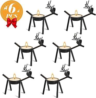 Ponwec 6Pcs Reindeer Tea Light Candle Holders,Black Metal Tea Light Stands for Christmas Home,Kitchen,Table Decorations