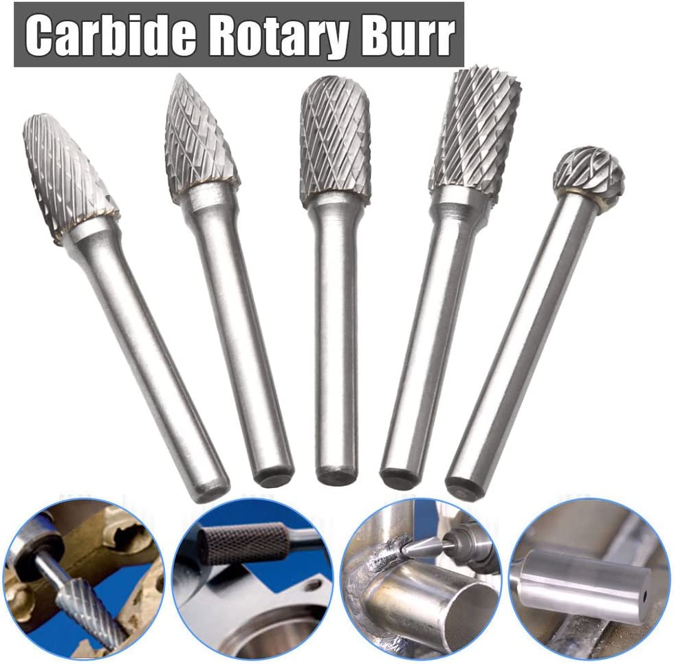 Engraving Drilling STARVAST Double Cut Rotary Burr Set with 10mm Head Size and 1//4 Shank Die Grinder Bits Rotary Files for Metal Carving Polishing Tungsten Carbide Burr Set of 5
