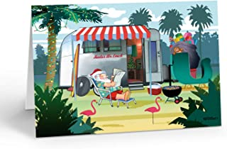 Relaxing in Warm Weather - Santas Camper - Christmas Card - 18 Cards & Envelopes