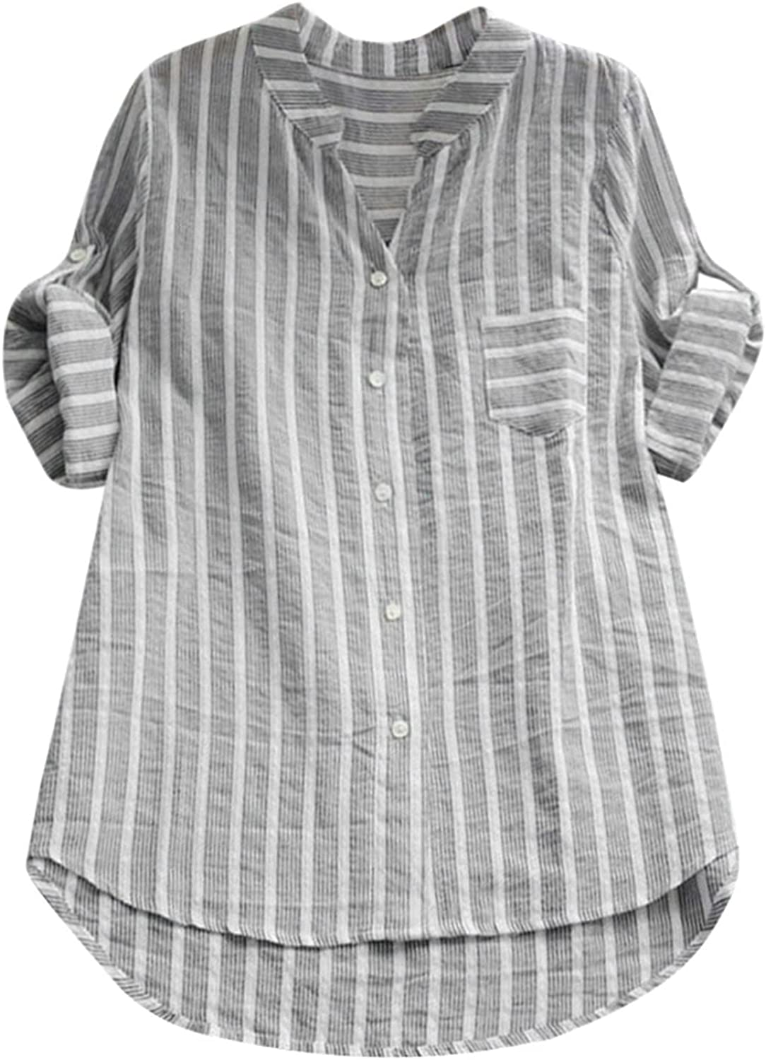 Kanzd Tops for Women Casual Fashion V-Neck Rolled Sleeve Cotton Linen Stripe Shirt Button Down Long Shirt Tunic Blouse