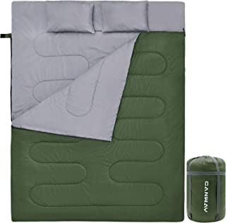 CANWAY Double Sleeping Bag, Lightweight Waterproof 2 Person Sleeping Bag with 2 Pillows for Camping, Backpacking, or Hiking Outdoor for Adults or Teens Queen Size XL