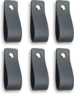 Tiradores de Cuero | Gris / 6 piezas | 16,5 x 2,5 cm | Piel