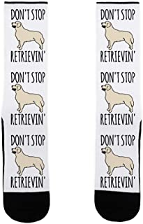 LookHUMAN Don't Stop Retrievin' Golden Retriever Dog Parody US Size 7-13 Socks