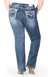 629bec550e9cb Grace L.A. Idol Women Plus Bootcut Jeans Mid Rise Western Tribal Flap Bold  Whip Stitch Stretch