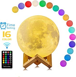 Moon Lamp, 3D Printing 16 Colors RGB Led Moon Light with Stand and Timing Setting, Moon Light Lamps with Remote & Touch Control and USB Recharge for Kids Lover Birthday Christmas Gifts (5.98 Inch)