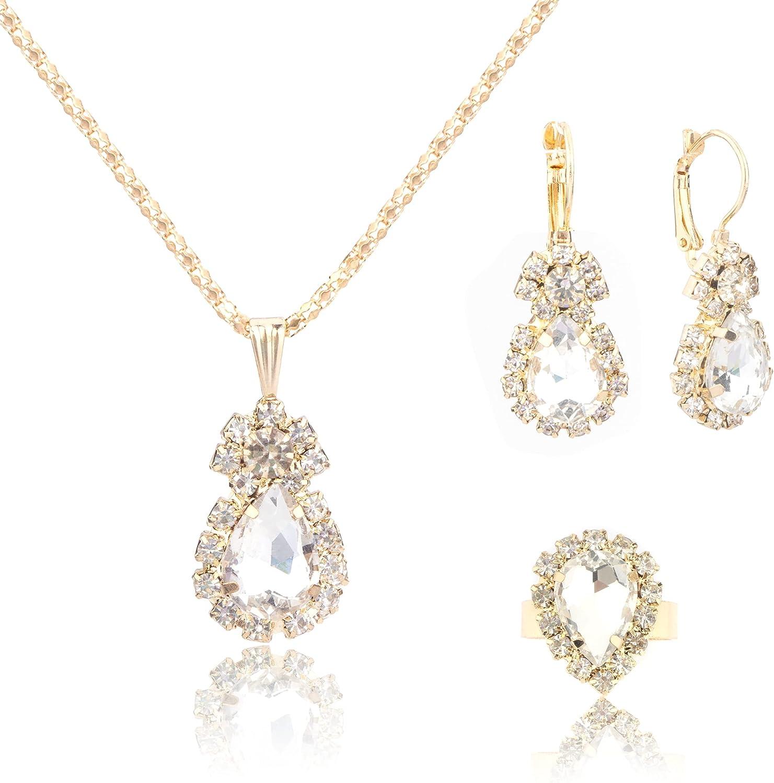 Hiprihop Teardrop Wedding Bridal Jewelry Set for Brides Women Birdesmaid, Luxury Gold Crystal Rhinestone Necklace Earrings Ring Set, Wedding Party Costume Jewelry