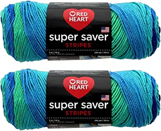Bulk Buy: Red Heart Super Saver (2-pack) (Cool Stripe, 5 oz each skein)
