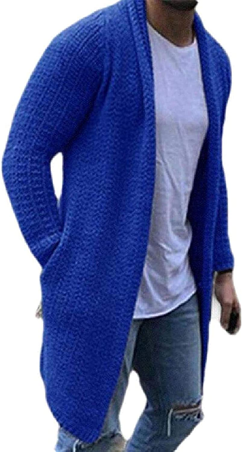 Men Long-Sleeve Cardigan Fashion Knitted Solid Color Pockets Slim Fit Cardigan