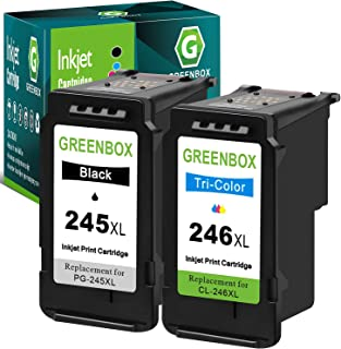 GREENBOX Re-Manufactured Ink Cartridge Replacement for Canon PG-245XL CL-246XL PG-243 CL-244 (1 Black 1 Tri-Color) Used in...