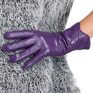 Nappa Leather Gloves Warm Handmade Curve Lambskin for Women