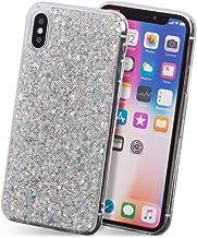 iPhone XS ケース iPhone X ケース ソフト スマホ ケース キラキラ ラメ かわいい ストラップ Qi対応 カバー 銀 「グリッター」 iPhoneXS/iPhoneX,シルバー iPhoneXS/iPhoneX,シルバー