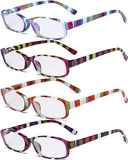 Eyekepper Pack de 4 lunettes de lecture à la mode pour femmes - Stripe Design Petites lunettes de lecture +2.50
