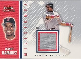 MANNY RAMIREZ GAME WORN BOSTON RED SOX USED JERSEY FLEER 2003 MLB TRADING CARD