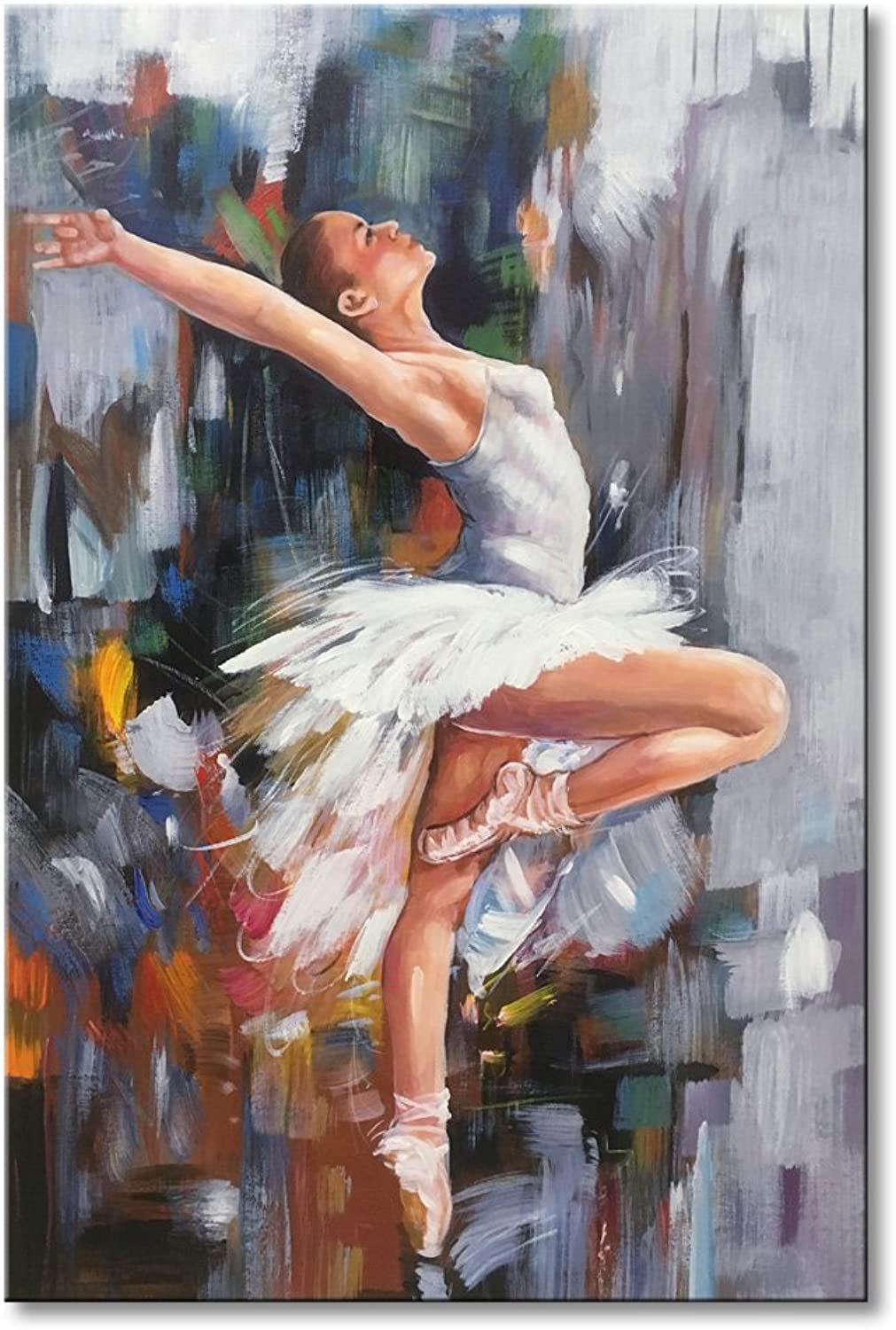 EVERFUN ART Ballet Dancer Modern Artwork Hand Painted Abstract Oil Paintings on Canvas Wall Art Girl Dancing Contemporary Framed Ready to Hang for Home Decoration