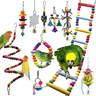 10 Packs Bird Swing Chewing Toys- Parrot Hammock Bell Toys Parrot Cage Toy Bird Perch with Wood Beads Hanging for Small Pa...