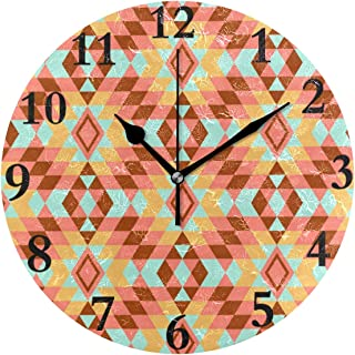 NMCEO Wall Clock Geometric Orange Pattern Round Hanging Clock Acrylic Battery Operated Wall Clocks for Home Decor Creative