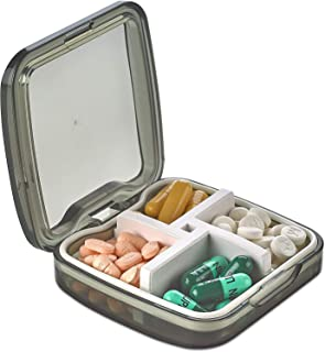 Compact Pill Box Organizer - Portable Waterproof Medicine Organizer and Daily Pill Container with Removable 4 Compartment ...