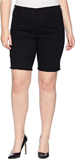 NYDJ Plus Size Plus Size Briella Shorts w/ Fray Hem in Black