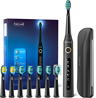 Best Fairywill Electric Toothbrush for Adults with 5 Modes, Smart Timer, 8 Brush Heads, Fully Rechargeable with One 4 Hr Charge Last 30 Days, Whitening Ultra Sonic Toothbrushes with A Travel Case in Black Review