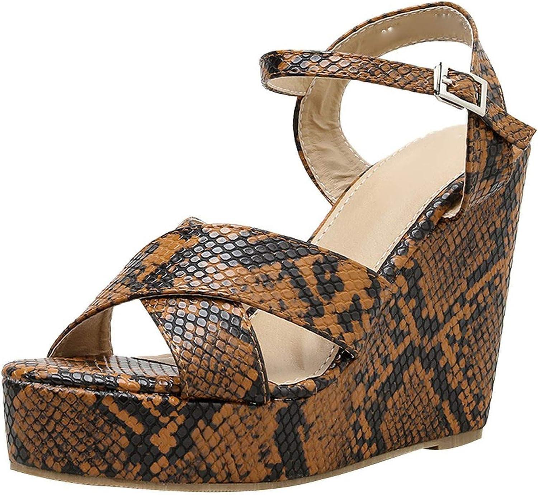 Summer Sandals Wedge Leopard Platform high Heels Sandals Women Party shoes Platform