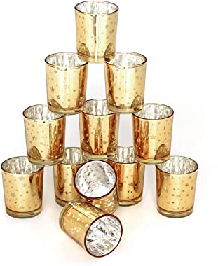 Gold Tealight Glass Candle Holders wtih Star Set of 12 Small Glass Tealight Candle Holder with A Speckled Gold Colored Finish