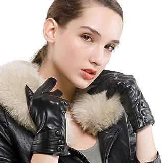 Nappaglo - Guanti da donna invernali in pelle di agnello, per touchscreen