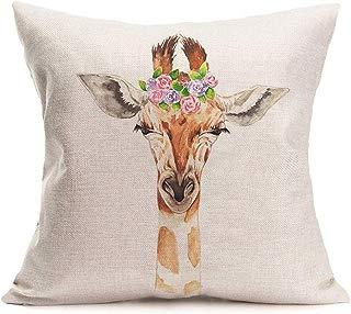 Smilyard Giraffe Decorative Throw Pillow Covers Lovely Animal Head with Spring Flower Cotton Linen Pillow Case Cushion Cover Home Sofa Decor 18x18 Inch Pillowcase (Giraffe)