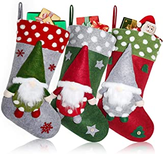 FUNSEED Christmas Gnome Stockings, 19 inch 3 Pack Swedish Tomte 3D Santa Gnomes Nordic Figurine Fireplace Hanging Stocking...
