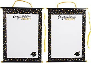 2-Pack Graduation Party Signature Scrolls - Graduation Keepsake Sign-In Paper Scrolls with Plastic Dowels, White with Color Border, 22 x 15.9 Inches