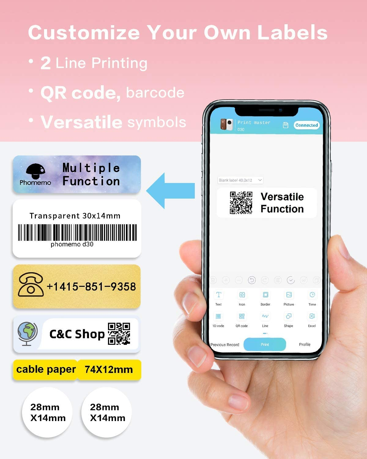 Phomemo D30 Label Makers-2021 Small Label Maker Machine Bluetooth Smartphone Label Printer Use for Home Office Organization,Small Business (USB Rechargeable)-with 1 12mmX40mm Thermal Paper Included
