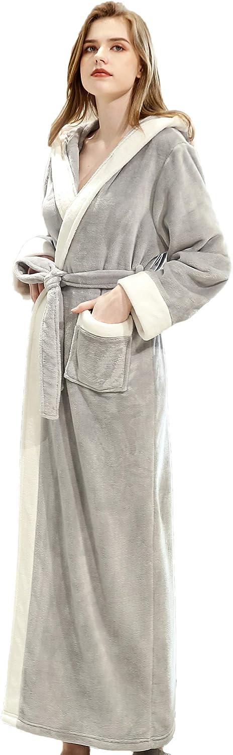 EPLAZA Women's Long Hooded Fuzzy Fleece Robe Warm Plush Bathrobe
