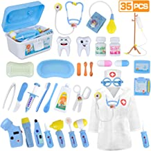 LOYO Medical Kit for Kids - 35 Pieces Doctor Pretend Play Equipment, Dentist Kit for Kids, Doctor Play Set with Case