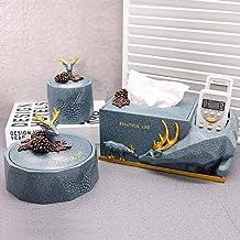 Nordic American Blue Deer Tissue Box Cover, Dispensador de tejido facial de resina, Soporte de caja de hisopos de algodón, Cenicero, Soporte de almacenamiento de control remoto for sala de estar