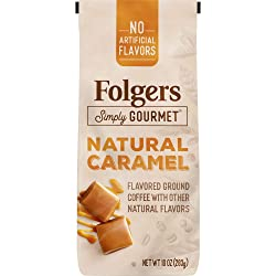 Folgers Simply Gourmet Flavored Ground Coffee with Other Natural Flavors, Caramel, 10 Ounce, Packagi