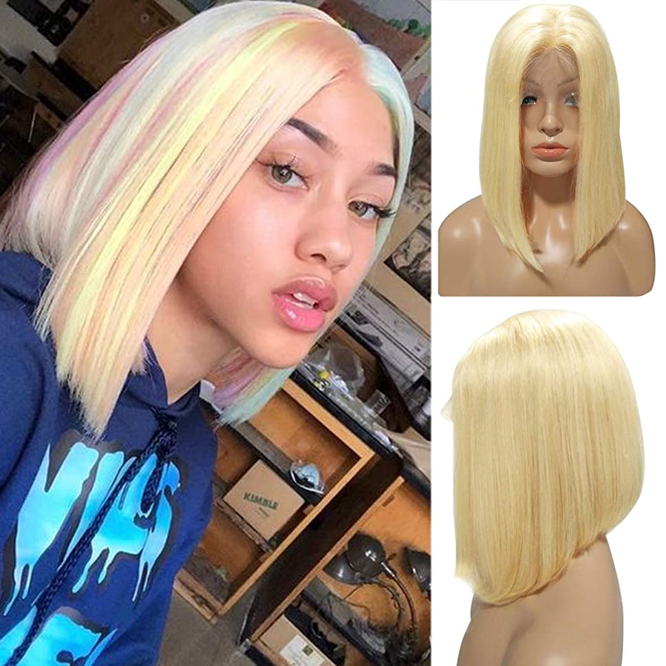 Blonde Bob Wig Human Hair 180% Density Short Straight 613 Bob Lace Front Wig Medium Size Cap 8 Inch Short Colored Bob Lace Wigs Bleached Knots, 13×4 Soft Swiss Lace