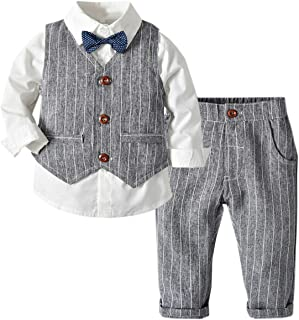 DAIMIDY Baby Boys Summer Cotton Gentlemen Suit, 12 Month - 4 Years