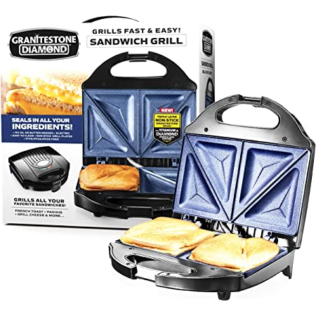 Granitestone Sandwich Maker, Toaster & Electric Panini Grill with Ultra Nonstick Mineral Surface - Makes 2 Sandwiches in Minutes with Virtually No Clean Up, with Easy Cut Edges and Indicator Lights