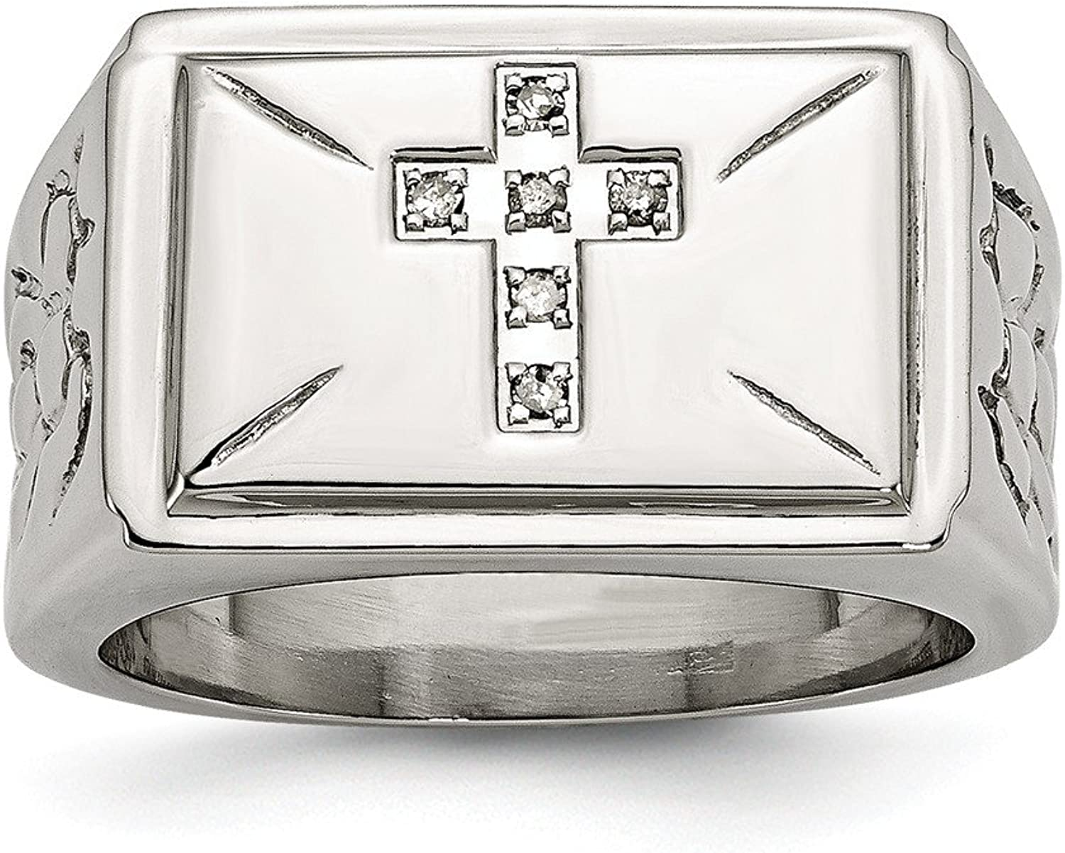 Beautiful Stainless Steel Diamond Cross w Textured Sides Polished Ring