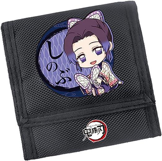 HANDAFA Anime Demon Slayer Tri-fold Wallet Manga Kimetsu No Yaiba Wallet Unisex Cosplay Slim Purse(Shinobu)