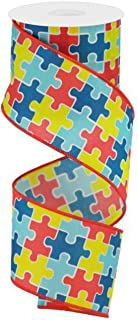 Autism Awareness Puzzle Piece Wired Ribbon | Red Yellow Blue (2.5 Inches x 10 Yards)